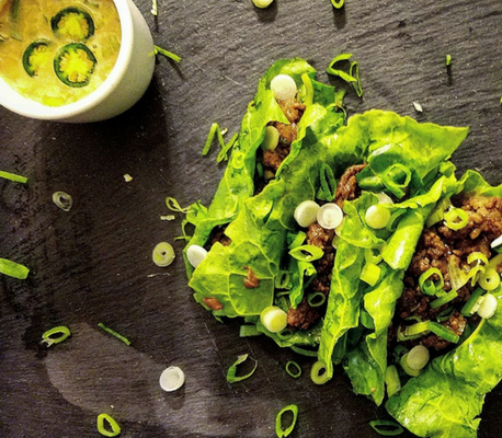 Beef Lettuce Wraps with Peanut Dipping Sauce
