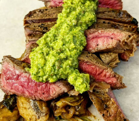 Spinach & Artichoke Pesto with Steak
