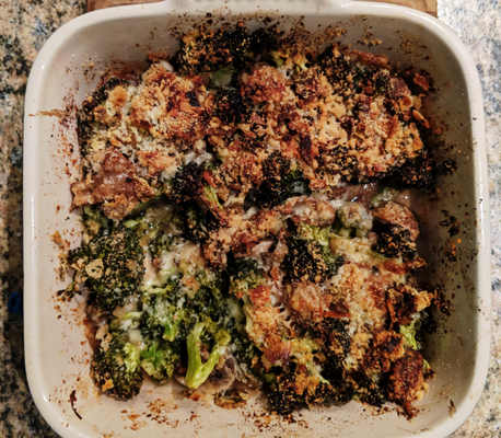 Broccoli Mushroom Bake with Parmesan + Crackers